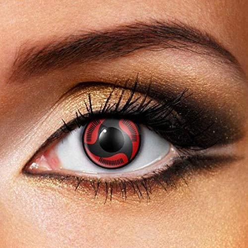 Partylens Farblinsen - Sharingan Itachi Uchiha - weiche Kontaktlinsen - Jahreslinsen mit Kontaktlinsenbehälter Jahreslinsen, Schwarz, Rot, BC 8.6 mm/DIA 14.5 mm / 0 Dioptrien