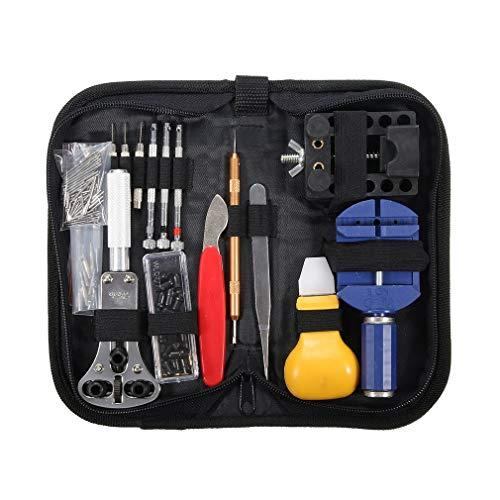 146PCS Watch Repair Tool Kit met draagbare opbergtas Casehouder Link Pin Remover Case Opening Mes Tweezer Setmulticolor