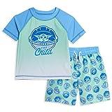 STAR WARS The Mandalorian Baby Yoda Toddler Boys Rash Guard Swim Trunks Set Blue/Green 3T