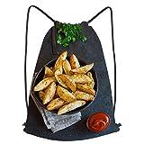 fudin Impermeable Bolsa de Cuerdas Saco de Gimnasio patatas al horno gajos queso hierbas tomate Deporte Mochila para Playa Viaje Natación