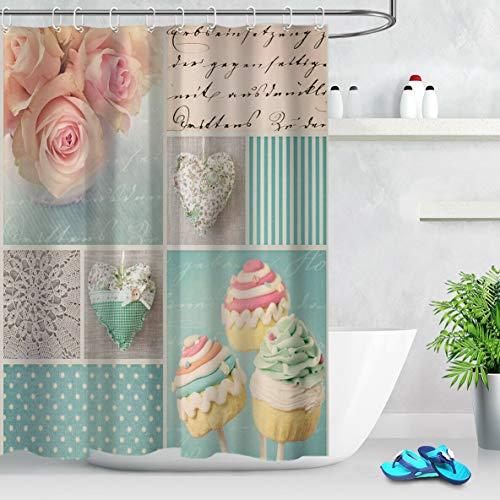 zhangqiuping88 Romantische Rose Kuchen Duschvorhang Bad Durable Fabric Mehltau Bad Anhänger Kreative mit 12 Haken 180X180CM