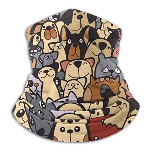 fishappleeatall Grupo de perros y gatos de Doodle, diferentes especies de perros y gatos, pasamontañas de calentador de cuello de ilustración vectorial