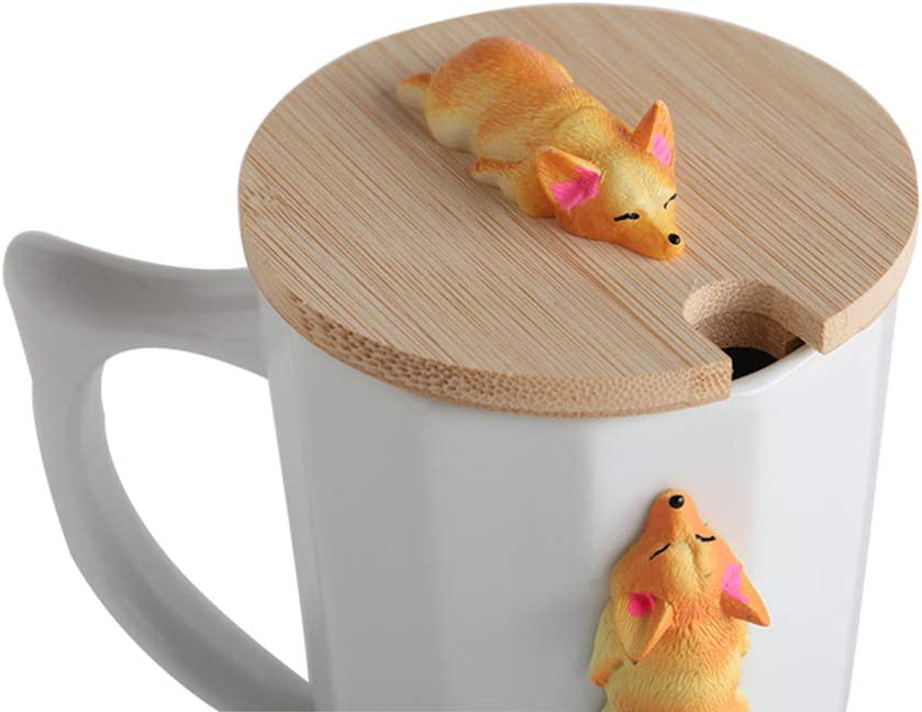 3D Cute Corgi Figurine Ceramic Mug Large Tea Cup Perfect Novelty Gift White Corgi Coffee Mug with Bamboo Lid A