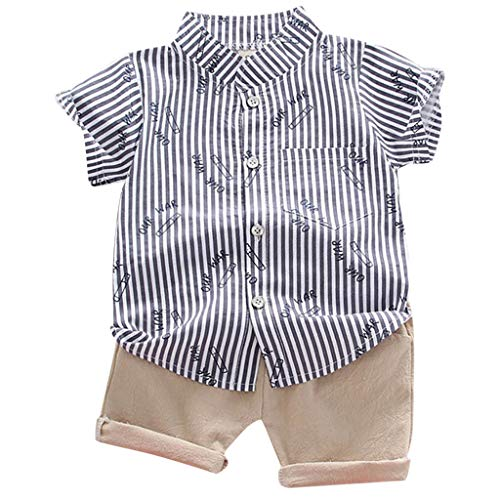Baby Jungen Streifen Brief Drucken T-Shirt Tops + Hosen Outfits Einstellen