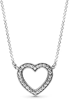 PANDORA Loving Hearts Of Pandora Necklace, Sterling Silver, Clear Cubic Zirconia, 17.8 IN