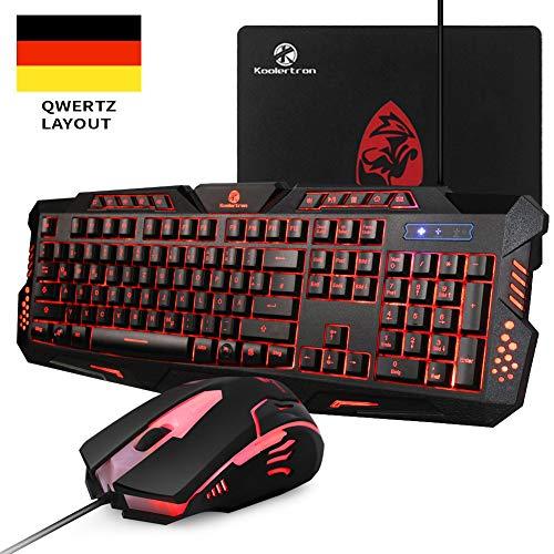 Gaming Tastatur Mit Maus Set,Koolertron QWERTZ Deutsches Layout Leuchtende Tastatur mit 7 Farbe Game Tastatur mit Maus für PC, Laptop