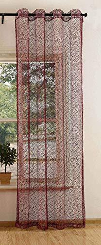 Gardinenbox Cortina de Red con Ojales, monocromática, Transparente, Cortina Decorativa con Estructura de Red, 20352, poliéster, Burdeos, 245 x 140 cm