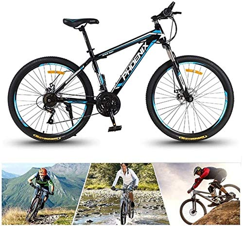 HCMNME Durable Bicycle, 24/26 inch Adult Mountain Bike Aluminum Alloy Bicycle Mountain Bike Unisex Road Alloy Bicycle Bicycle (Color: 24/26 inch, Specification: 24 Times Speed) (Color : Black-re