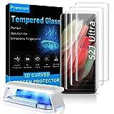 MOWEI 3 unidades para Galaxy S21 Ultra Protector de pantalla, [100% desbloqueo ultrasónico de huellas dactilares] 3D curvado vidrio templado para Samsung S21 Ultra 5G