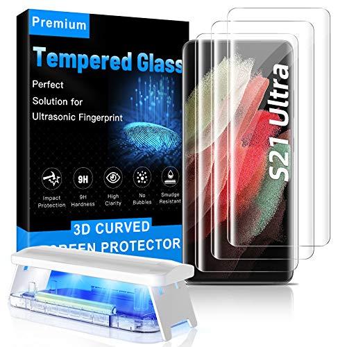 [3+2 Stück] MOWEI Für Galaxy S21 Ultra Panzerglas, 3X Glas Schutzfolie 9H und 2X Kamera Schutzglas 100% Fingerabdruck-ID unterstützen Hüllenfreundlich Kompatibel mit Samsung S21 Ultra 5G