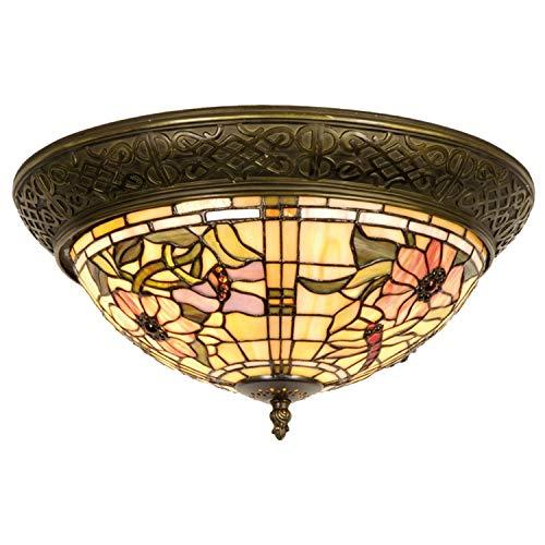 Lumilamp 5LL-5350 - Lampada da soffitto in stile Art Deco Tiffany blu/naturale, Ø 38 x 19 cm, 2 x E14 / 40 W, in vetro colorato, stile tiffany fatto a mano
