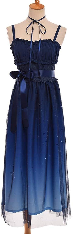 Aignse Sweet Fairy Dress Navy bluee Starry Gradient color Suspender Mesh Cute Dresses
