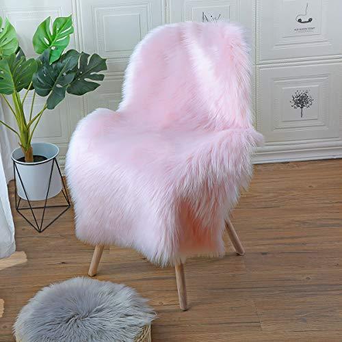 YIHAIC Falso Piel de Carnero Vellón Alfombra,Lujosa Suave Lana Artificial Alfombra para salón Dormitorio baño sofá Silla cojín (Rosa, 50 x 80 cm)