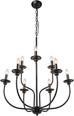 LALUZ Farmhouse Chandelier, Dining Room Lighting Fixtures Hanging in Black Metal Finish, 2-Tier 9-Candle Rustic French Countr