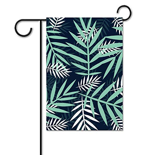 Drapeau de jardin sans marque - Drapeau de bienvenue - Drapeau de jardin - Plage - Décoration extérieure - Blanc tropical - Palmiers verts - Printemps/été