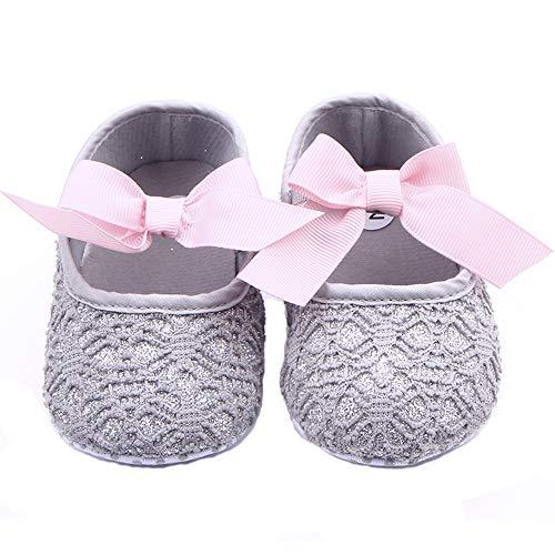 Nagodu Shoes Zapatos para Bebe niñas, Hermosos Grabados Grises y de Fondo Plateado Brillante con un…