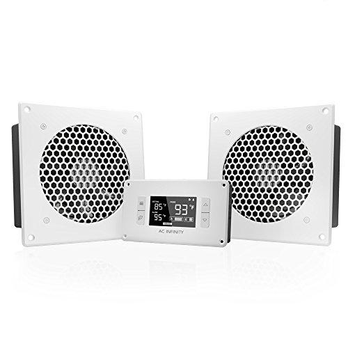 AC Infinity AIRPLATE T8 Weiß, Leise Kühlung Dual-Fan System 15,2 cm mit Thermostat Kontrolle, für Home Theater AV Schränke