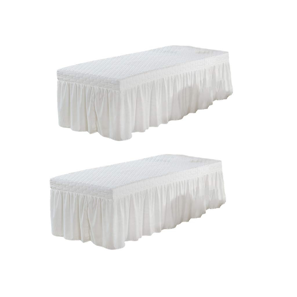 Fityle 2Pcs White 73x28 inch Microfiber Beauty Thickening Massage Table Skirt Bed Cover Solid Color: Beauty