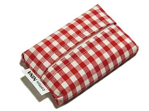 cottonNINA シンプルポケットティッシュケース ミニサイズ PTS (赤ギンガム『5ミリ角チェック』)