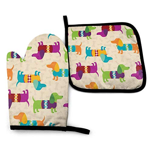 Kteubro Oven Gloves and Pot Holder 2 Pieces Set Dapper Dachshunds Wearing Argyle Sweaters Waterproof Kitchen Oven Mitts Heat Resistant Pot Pad for BBQ Cooking Baking Grilling
