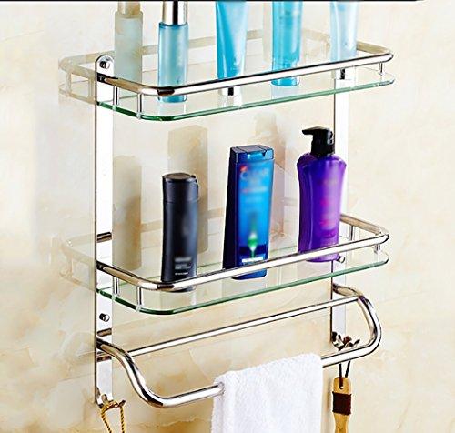 Bathroom Rack YSJ Salle de Bains Verre rectangulaire étagère Murale Verre trempé Extra épais, Section Lumineuse (Taille : 51 * 13.5 * 56cm)