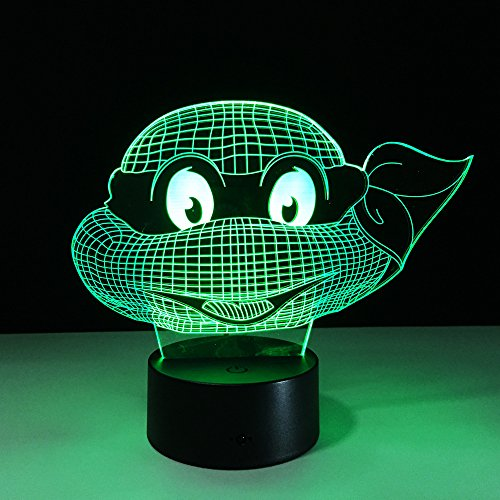Halloween 7 Colors Changing Turtle Night Light Lamps 3D Touch Nightlight Kids Teenage Mutant Ninja Turtles Gift For Kids