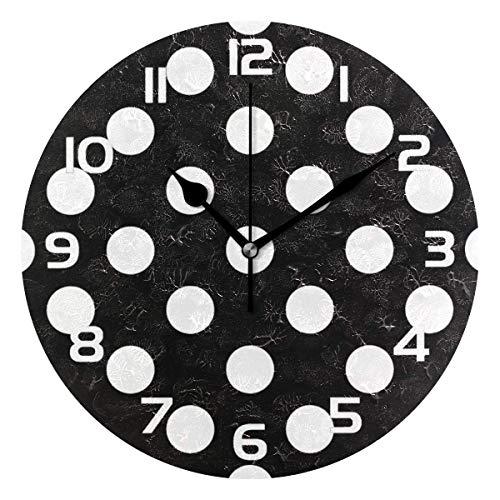 Meili Shop Patrón de Lunares Reloj de Pared Decorativo Relojes Redondos Decoración de Arte Dormitorio Sala de Estar Cocina Baño Oficina Oficina Escuela