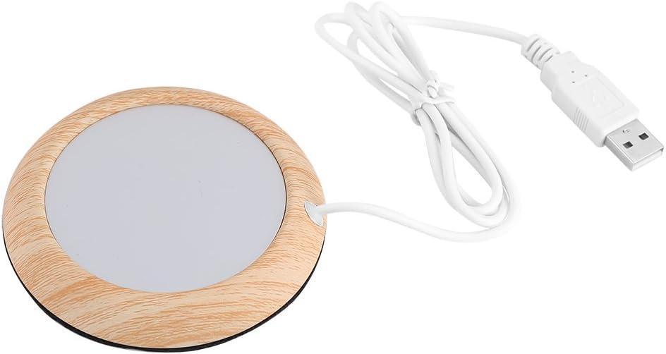 Creative USB Wood Insulation Grain Cup Heat Beverage Mug Mat Warmer Office Tea Milk Coffee Felt Heater Pad Coaster(Bright Wooden Grain)