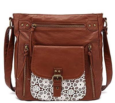 Scarleton Medium Lace Crossbody Shoulder Bag for Women, Ultra Soft Washed Vegan Leather, Brown, H200504