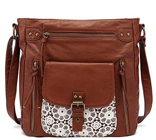 Scarleton Large Lace Crossbody Shoulder Bag for Women, Ultra Soft Washed Vegan Leather, Brown, H200504