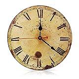 SOLEDI Vintage Francés Reloj de Pared con número Romano de Madera con el Dibujo de Metal Oxidado, de Estilo de Toscano,...