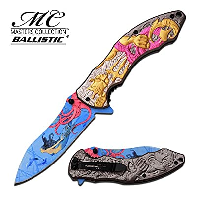 Master Collection Spring Assisted Folding Knife Poseidon Pink MC-A027PK - hunting knives, military surplus - survival and camping gear