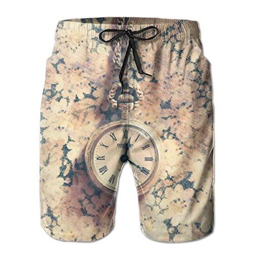 LREFON Pantalones Cortos de Playa para Hombre de Secado rápido Reloj de Pulsera Forro de Malla Rosa Bañador de Surf para Nadar con Tasche 2XL