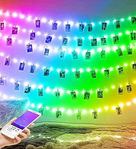 Smart Colour Changing Fairy Lights Rainbow String Lights Outdoor Waterproof and Indoor for Bedroom 100 LED Copper Wire Fairy Lights with 40 Clips Pegs Rainbow Light for Photos (100led)