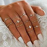 Aukmla Juego de anillos de nudillos bohemios apilables de cristal dorado, anillos de dedo tamaño midi para mujeres y niñas 12 piezas