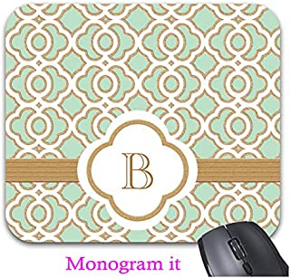 Mint Green and Gold Moroccan Monogrammed Mouse Pad Trendy Office Desk Accessories - 9 x 7.5