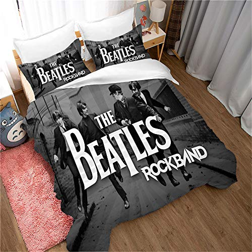 Funda Nórdica Banda De Rock The Beatles Funda De Almohada Ropa De Cama Antiácaros Suave 15% Algodón + 85% Microfibra ((220x 240cm)-Cama de 150/160,Style 10)
