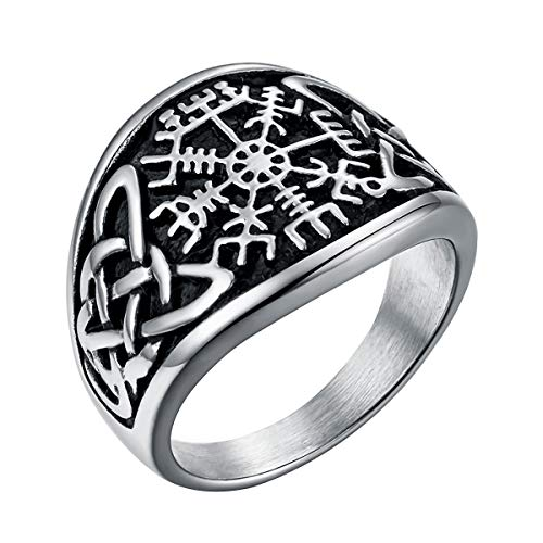 Valily Nordic Viking Compass Ring for Men Stainless Steel Gold Celtic Knot Viking Jewelry Vegvisir Ring Size Q