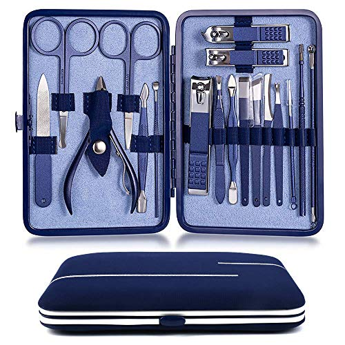 Manicura Set, Manicura y Pedicura Profesional de pedicura 18 en 1 profesional de acero inoxidable, tijeras para uñas, lima de uñas, gancho para orejas, pinzas, tijeras para el pelo de la nariz (Azul)