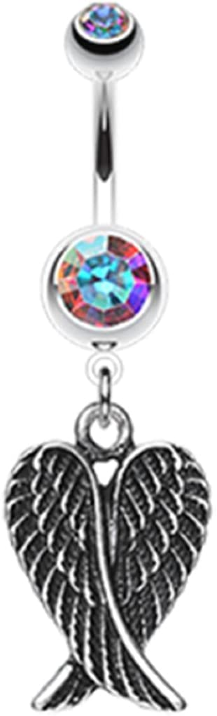 Freedom Fashion Angel Wing Challenge the lowest price Heart 316L Import Steel Belly Butto Surgical