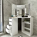 Uublik White Dressing Table Vanity Mirror Set for Small Space,Modern Corner Design Makeup Dresser Table with Drawer and Storage Cabinet for Bathroom,Bedroom