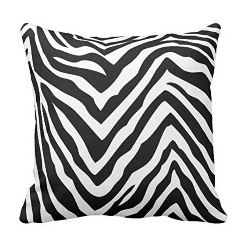 Überwurf Kissen für Couch Home Dekorative Schwarz Weiß Zebra Streifen Kissenbezug 45,7x 45,7cm auf Leinwand, quadratisch Accent Kissen für Sofa & Couch