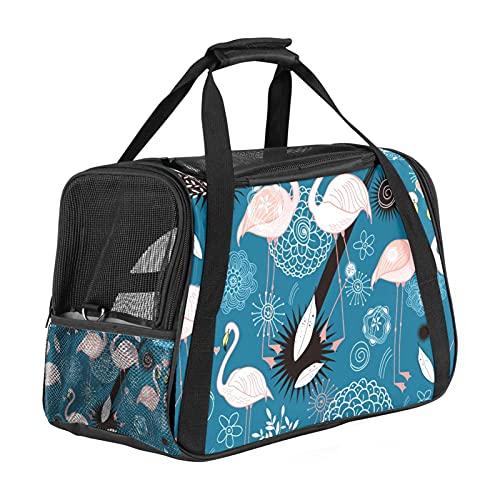 nakw88 Flamingo Parejas Azul Boho Flower Pet Carrier Bag Airline aprobado con malla transpirable y correa ajustable para el hombro, perro gato viaje con gran espacio para gatos y perros pequeños