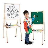 amzdeal Tableau Enfant Double Face Chevalet de Peinture Enfants pour de 3 à 8 Ans, 3en1 Tableau Magnétique, Hauteur Réglable 80cm to 145cm, Noir et Blanc Tableau en bois