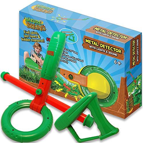 Nature Bound Kids Junior Metal Detector - Adjustable Detection for Kids with Lights & Sounds, Short Or Long Handle, Lightweight Design for Beginner Treasure Hunters, Kids Ages 6 +, Green Exploration Nature Toys