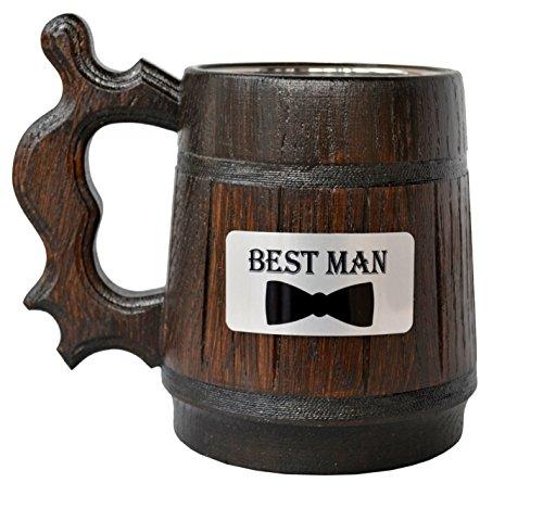 Fatto a mano in legno boccale di birra naturale in acciaio INOX Cup Men Gift eco-friendly souvenir retro marrone 20 ounce Best Man