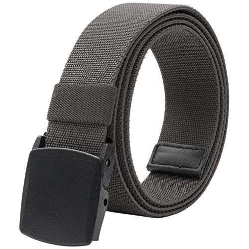 Men's Elastic Stretch Belt, Military Tactical Belts Breathable Canvas Web Belt for Men & Women with No Metal Plastic Buckle for Work Outdoor Sports, Adjustable for Pants Shorts Jeans Below 46' (Gray)