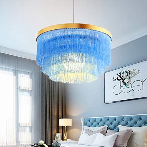 XLTT Azul Franja Araña Nordic Lámpara Colgante Lámpara De Techo Sala De Estar Dormitorio Princesa Habitación 42 * 42 * 23 Cm Tela Cálida Decoración De Lujo Personalidad