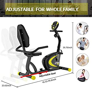 pooboo Recumbent Exercise Bike with Adjustable Magnetic Resistance,Indoor Cycling Stationary Bike with Speed, Time, Distance, Calorie Monitor (poow268-3)