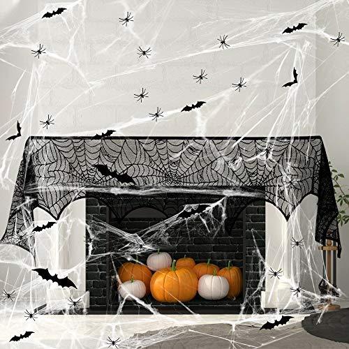 Wishstar Halloween Spinnennetz Deko Set, Schwarz Spitze Spinnennetz Kamin Tür Dekostoff mit 60g Spinnweben 60 Spinnen und 12 Fledermäuse für Kamin, Fenster, Tisch